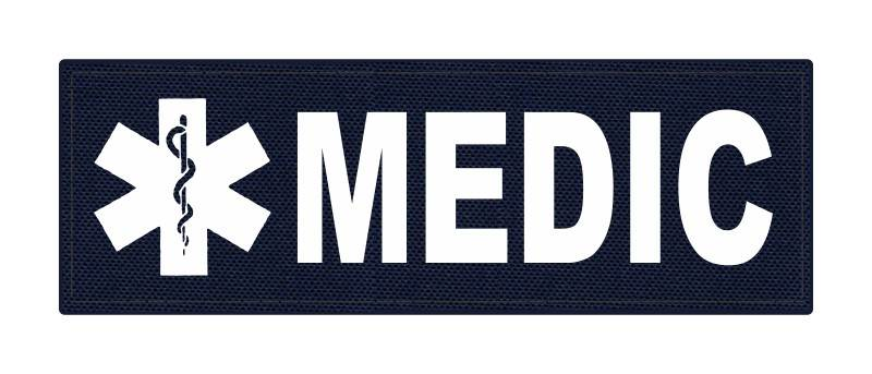 MEDIC Patch - Star of Life - 6x2 - White Lettering - Navy Backing - Hook Fabric