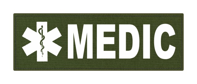 MEDIC Patch - Star of Life - 6x2 - White Lettering - OD Green Backing - Hook Fabric