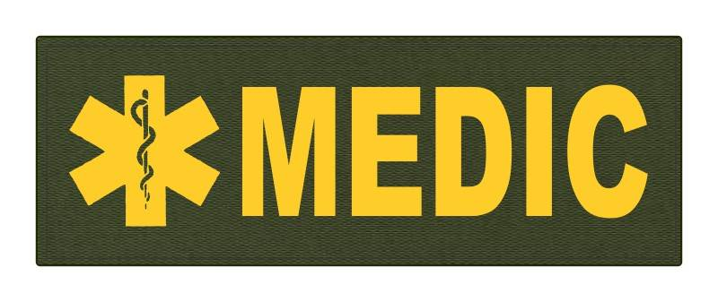 MEDIC Patch - Star of Life - 8.5x3.0 - Gold Lettering - OD Green Backing - Hook Fabric