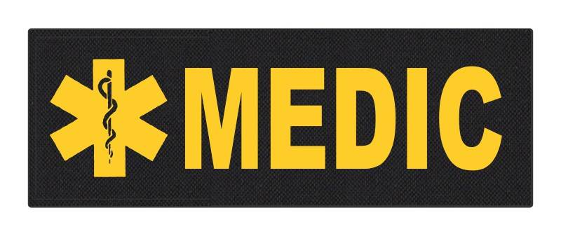 MEDIC Patch - Star of Life - 8.5x3.0 - Gold Lettering - Black Backing - Hook Fabric