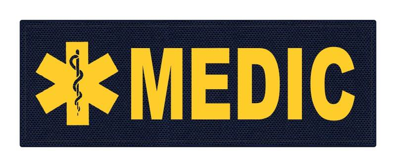 MEDIC Patch - Star of Life - 8.5x3.0 - Gold Lettering - Navy Backing - Hook Fabric