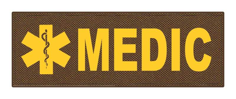 MEDIC Patch - Star of Life - 8.5x3.0 - Gold Lettering - Coyote Backing - Hook Fabric