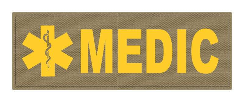 MEDIC Patch - Star of Life - 8.5x3.0 - Gold Lettering - Tan Backing - Hook Fabric