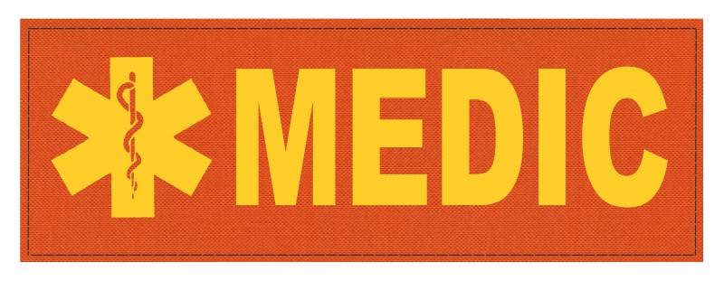 MEDIC Patch - Star of Life - 8.5x3.0 - Gold Lettering - Orange Backing - Hook Fabric