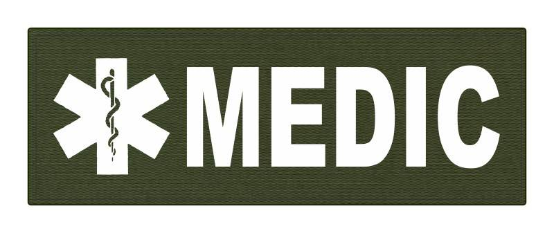 MEDIC Patch - Star of Life - 8.5x3.0 - White Lettering - OD Green Backing - Hook Fabric