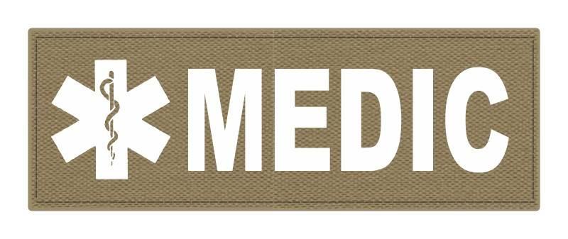 MEDIC Patch - Star of Life - 8.5x3.0 - White Lettering - Tan Backing - Hook Fabric