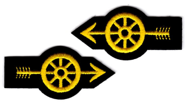Motorcycle / Traffic Officer - Wheel with Arrow - Gold - Pair
