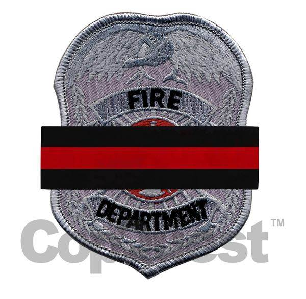 Mourning Band for Embroidered Badges - Thin Red Line over Black Bar with 2 posts
