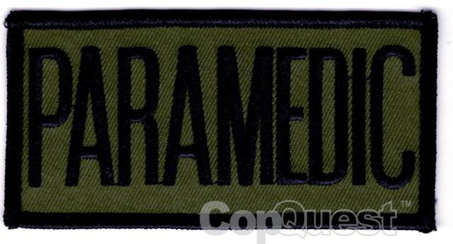 PARAMEDIC Chest Patch - 4 x 2 - Black Lettering - Olive Drab Backing