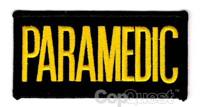 PARAMEDIC Chest Patch - 4 x 2 - Medium Gold Lettering - Black Backing