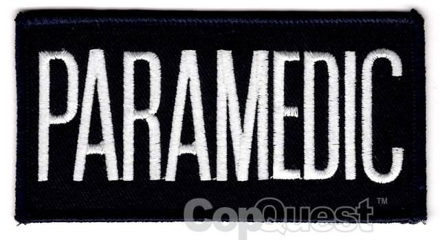 PARAMEDIC Chest Patch - 4 x 2 - White Lettering - Navy Backing