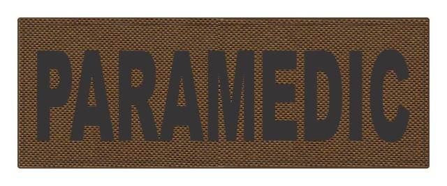 PARAMEDIC ID Patch - 11x4 - Black Lettering - Coyote Backing - Hook Fabric
