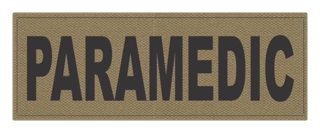 PARAMEDIC ID Patch - 11x4 - Black Lettering - Tan Backing - Hook Fabric