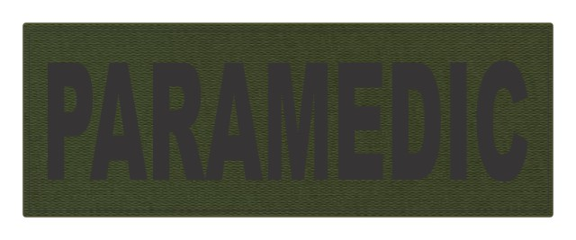 PARAMEDIC ID Patch - 11x4 - Black Lettering - OD Green Backing - Hook Fabric