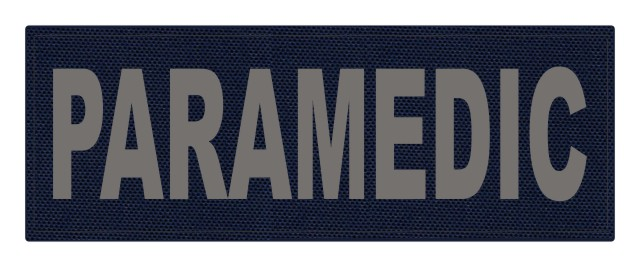PARAMEDIC ID Patch - 11x4 - Gray Lettering - Navy Backing - Hook Fabric