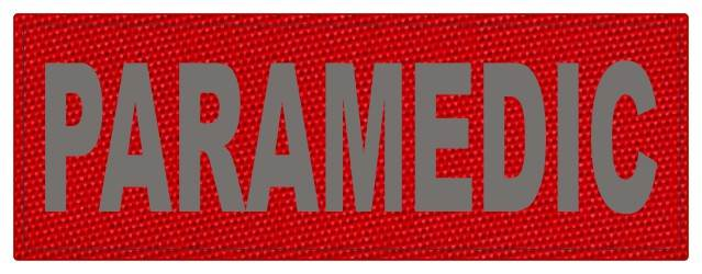 PARAMEDIC ID Patch - 11x4 - Gray Lettering - Red Backing - Hook Fabric