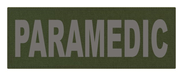 PARAMEDIC ID Patch - 11x4 - Gray Lettering - OD Green Backing - Hook Fabric