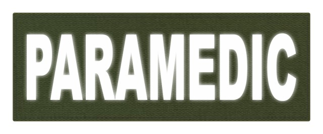 PARAMEDIC ID Patch - 11x4 - Reflective White Lettering - OD Green Backing - Hook Fabric
