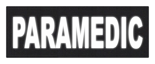 PARAMEDIC ID Patch - 11x4 - Reflective White Lettering - Black Backing - Hook Fabric