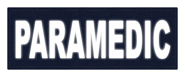 PARAMEDIC ID Patch - 11x4 - Reflective White Lettering - Navy Backing - Hook Fabric
