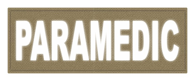 PARAMEDIC ID Patch - 11x4 - Reflective White Lettering - Tan Backing - Hook Fabric