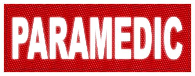 PARAMEDIC ID Patch - 11x4 - Reflective White Lettering - Red Backing - Hook Fabric