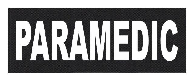 PARAMEDIC ID Patch - 11x4 - White Lettering - Black Backing - Hook Fabric