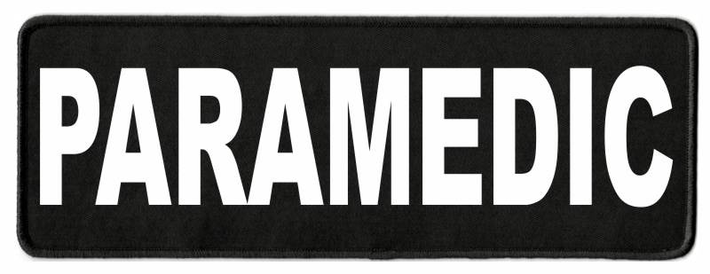 PARAMEDIC ID Patch - 11x4 - White Lettering - Black Twill Backing