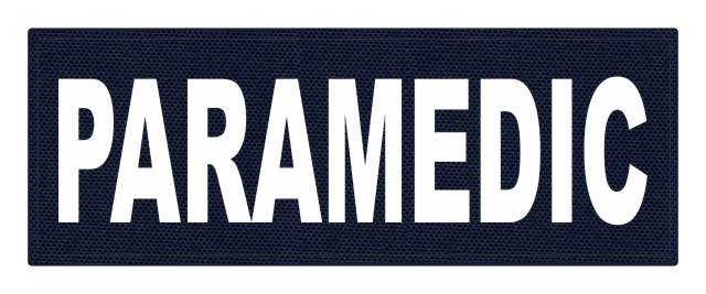 PARAMEDIC ID Patch - 11x4 - White Lettering - Navy Backing - Hook Fabric