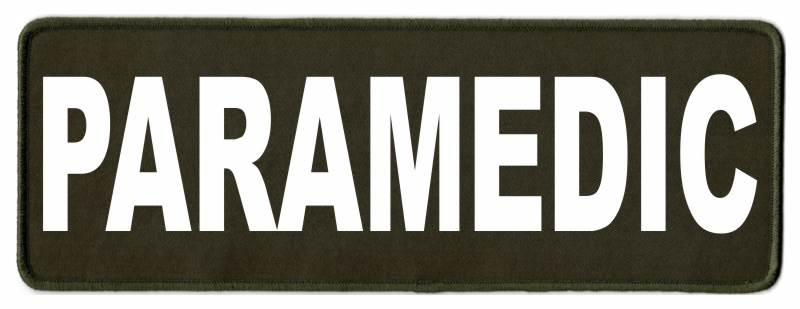 PARAMEDIC ID Patch - 11x4 - White Lettering - OD Green Twill Backing