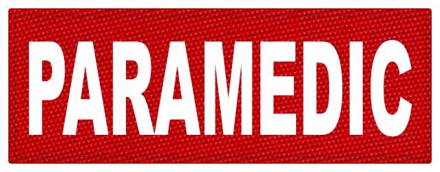 PARAMEDIC ID Patch - 11x4 - White Lettering - Red Backing - Hook Fabric