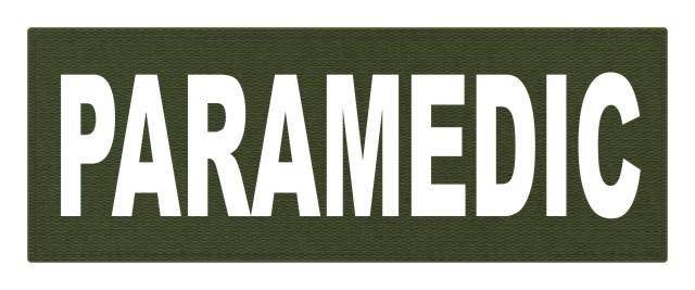PARAMEDIC ID Patch - 11x4 - White Lettering - OD Green Backing - Hook Fabric