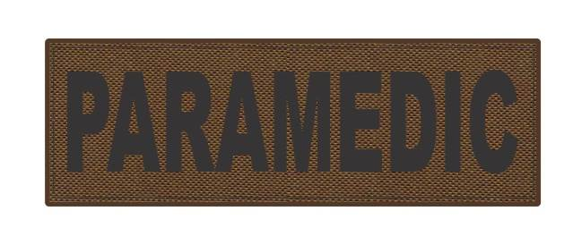 PARAMEDIC ID Patch - 6x2 - Black Lettering - Coyote Backing - Hook Fabric