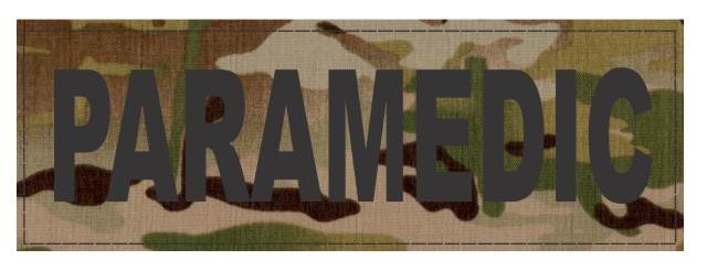 PARAMEDIC ID Patch - 6x2 - Black Lettering - Multicam Backing - Hook Fabric