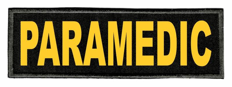 PARAMEDIC ID Patch - 6x2 - Gold Lettering - Black Twill Backing