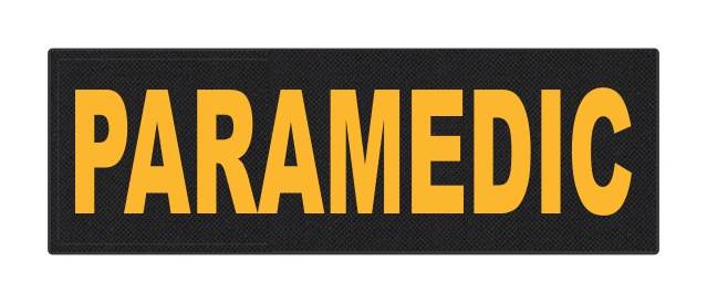 PARAMEDIC ID Patch - 6x2 - Gold Lettering - Black Backing - Hook Fabric