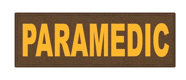PARAMEDIC ID Patch - 6x2 - Gold Lettering - Coyote Backing - Hook Fabric