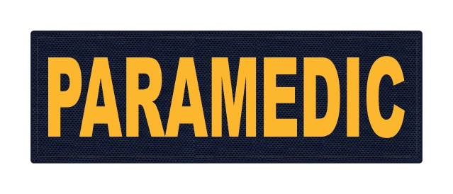 PARAMEDIC ID Patch - 6x2 - Gold Lettering - Navy Backing - Hook Fabric