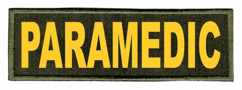 PARAMEDIC ID Patch - 6x2 - Gold Lettering - OD Green Twill Backing