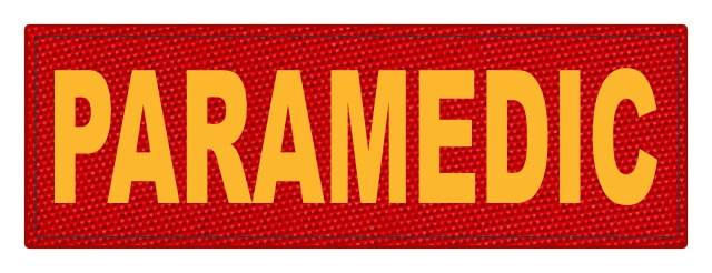 PARAMEDIC ID Patch - 6x2 - Gold Lettering - Red Backing - Hook Fabric