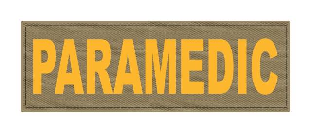 PARAMEDIC ID Patch - 6x2 - Gold Lettering - Tan Backing - Hook Fabric