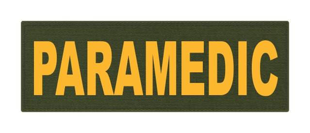 PARAMEDIC ID Patch - 6x2 - Gold Lettering - OD Green Backing - Hook Fabric