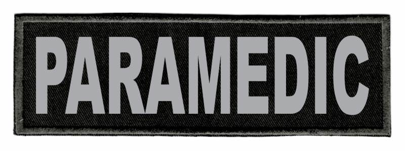 PARAMEDIC ID Patch - 6x2 - Gray Lettering - Black Twill Backing