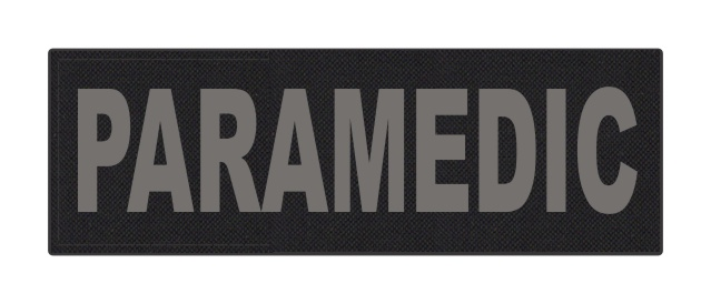 PARAMEDIC ID Patch - 6x2 - Gray Lettering - Black Backing - Hook Fabric