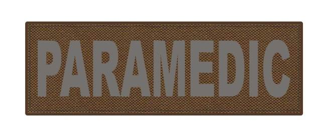 PARAMEDIC ID Patch - 6x2 - Gray Lettering - Coyote Backing - Hook Fabric