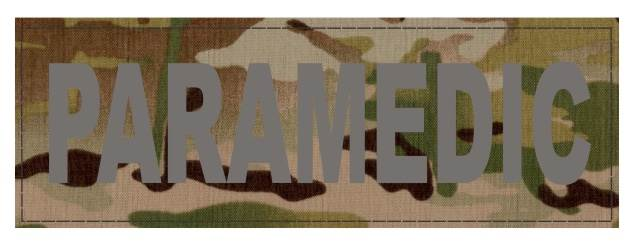 PARAMEDIC ID Patch - 6x2 - Gray Lettering - Multicam Backing - Hook Fabric