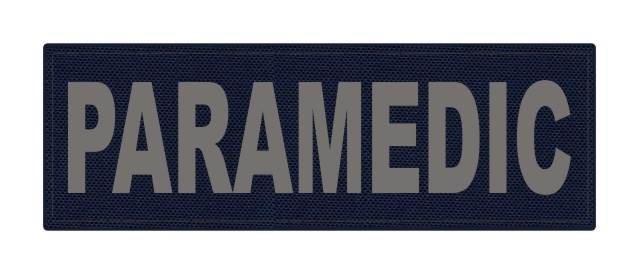 PARAMEDIC ID Patch - 6x2 - Gray Lettering - Navy Backing - Hook Fabric