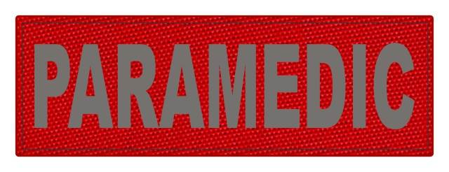 PARAMEDIC ID Patch - 6x2 - Gray Lettering - Red Backing - Hook Fabric