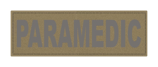 PARAMEDIC ID Patch - 6x2 - Gray Lettering - Tan Backing - Hook Fabric