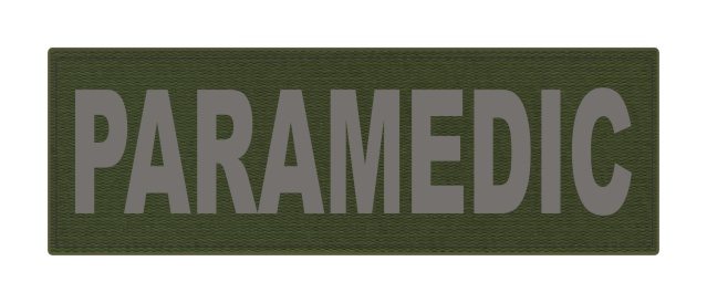 PARAMEDIC ID Patch - 6x2 - Gray Lettering - OD Green Backing - Hook Fabric